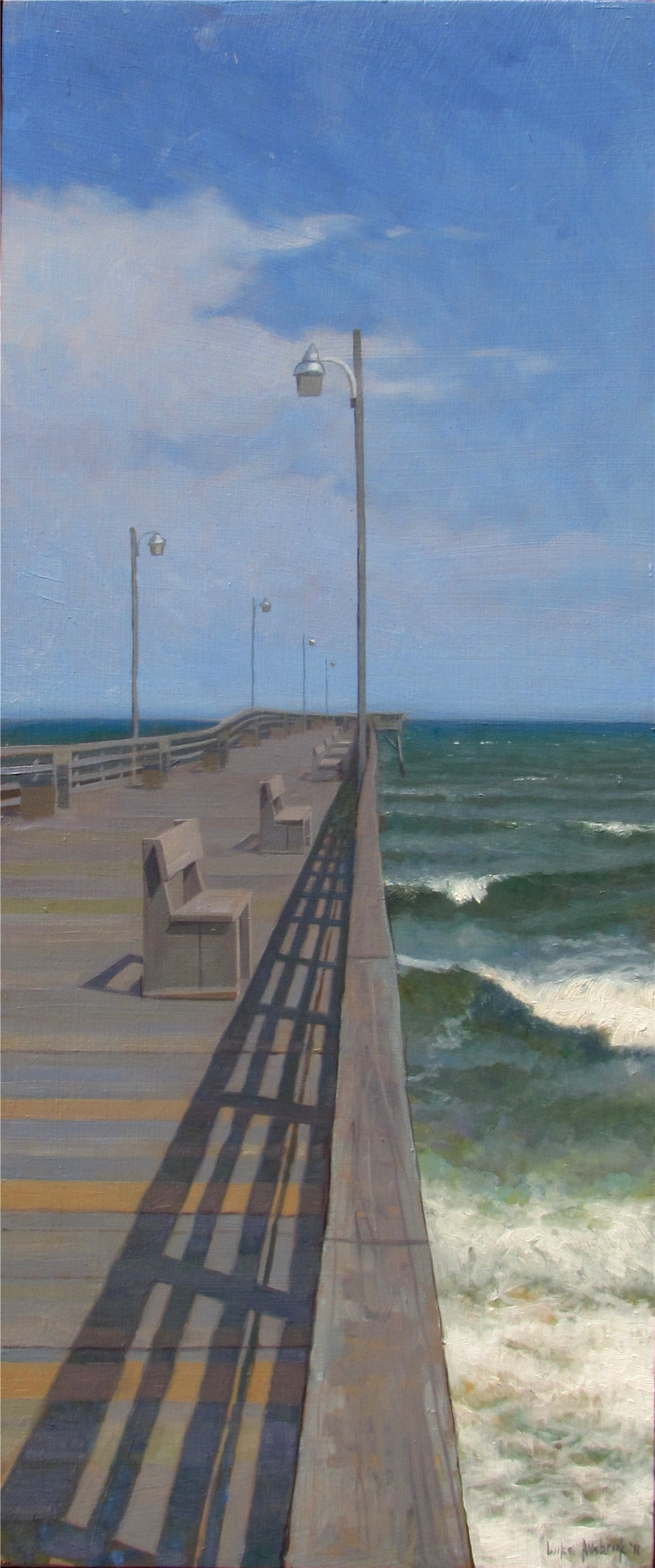 Topsail Pier with with Rough Seas 24x10