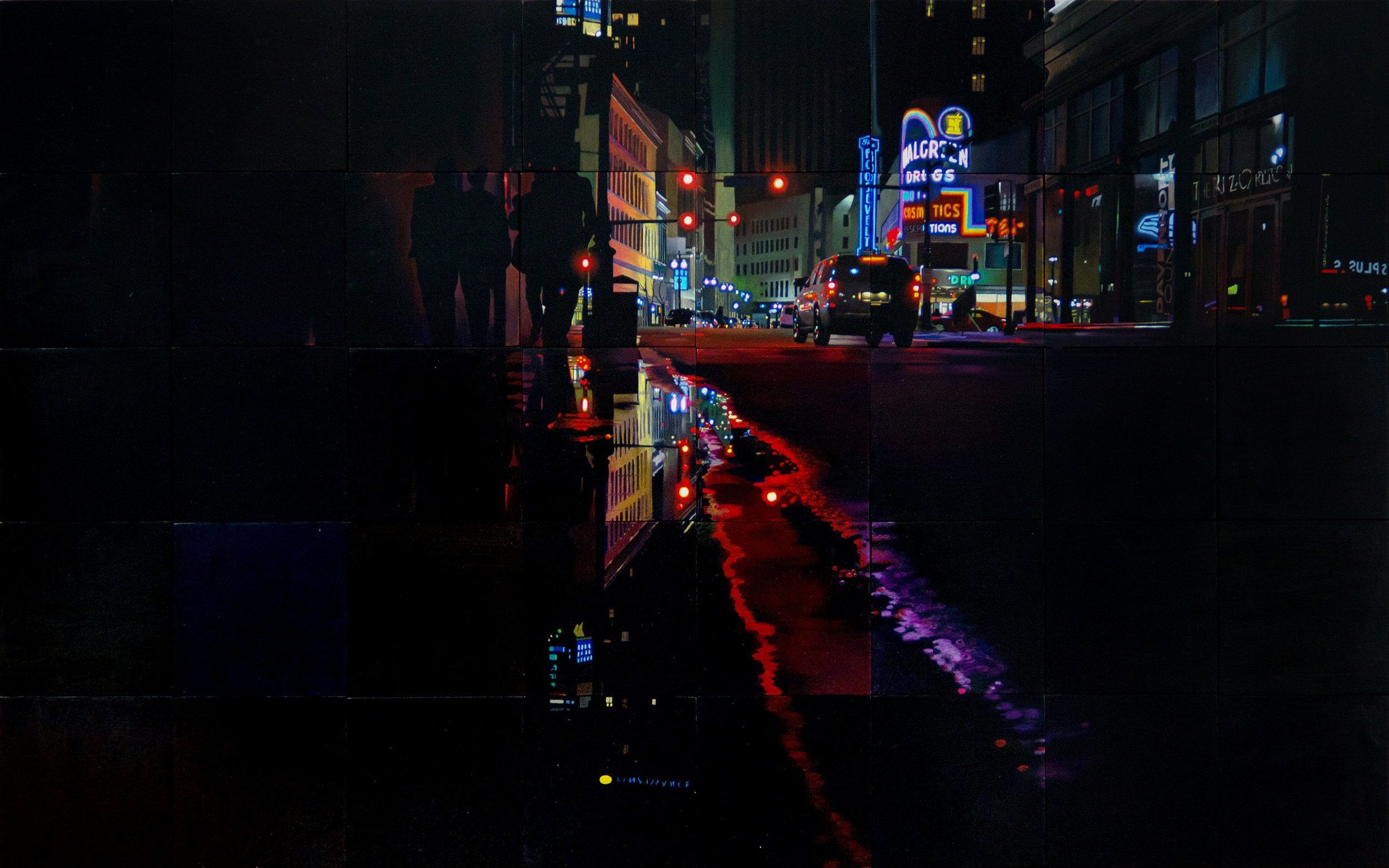 New Orleans Night Puddle 24x40