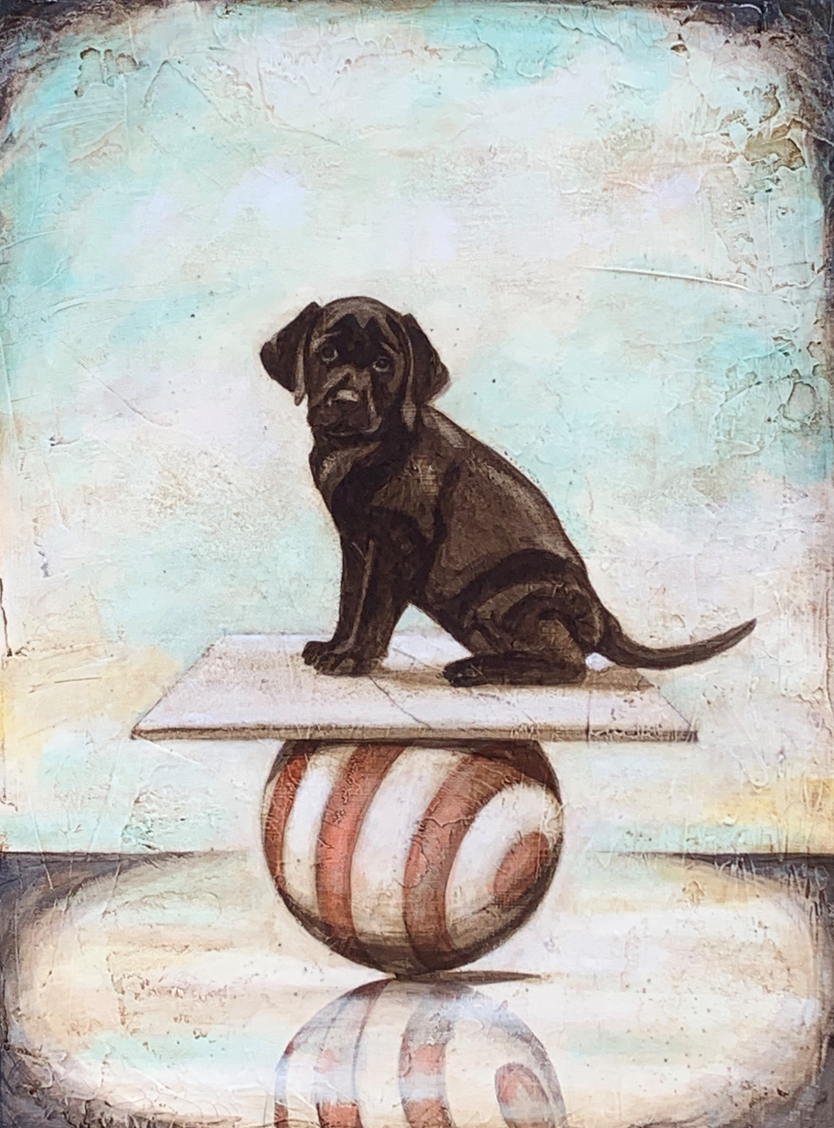 Black Lab on a Ball 24x18