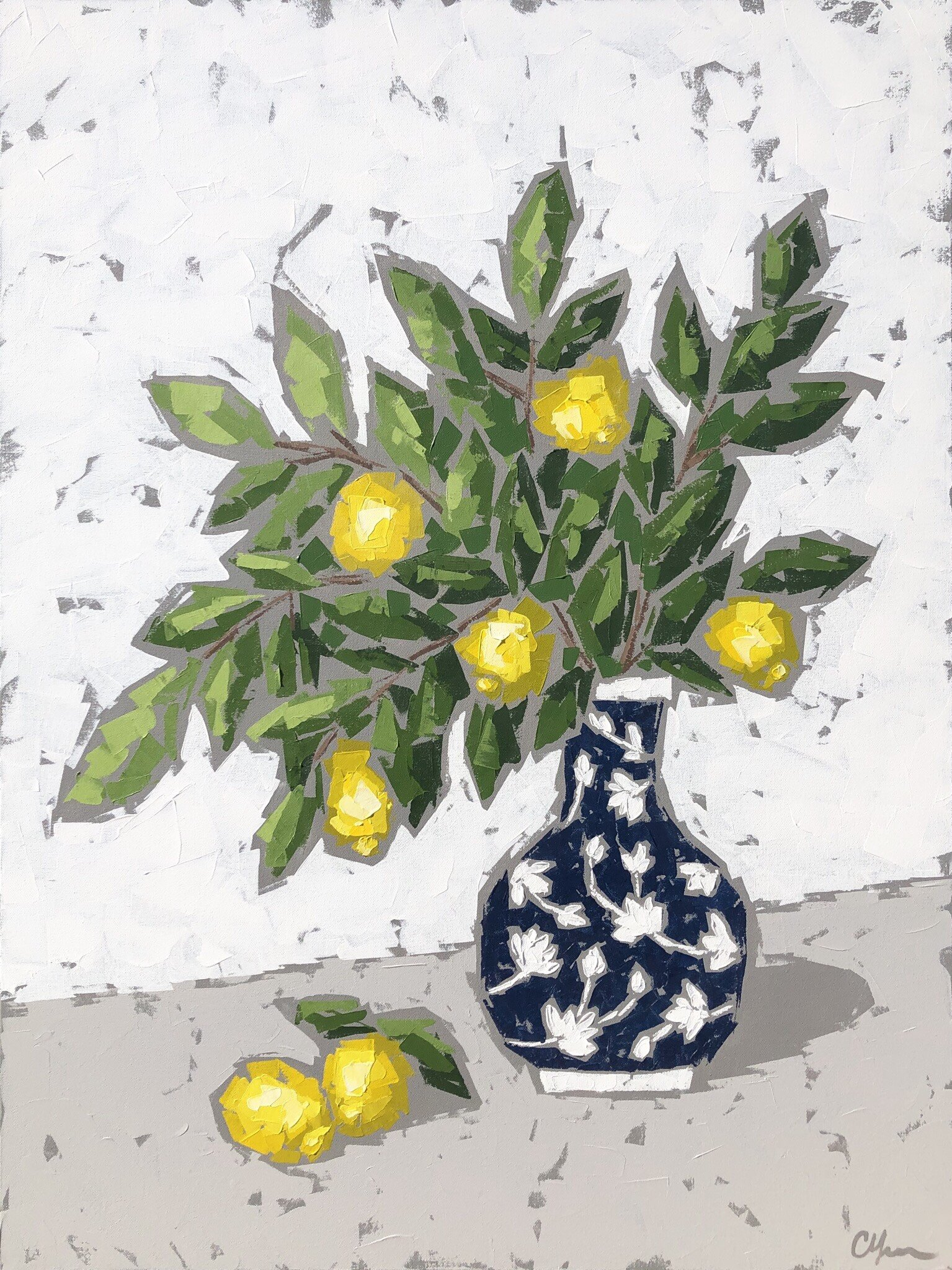 Lemons in Water in Chinoiserie I 30x24