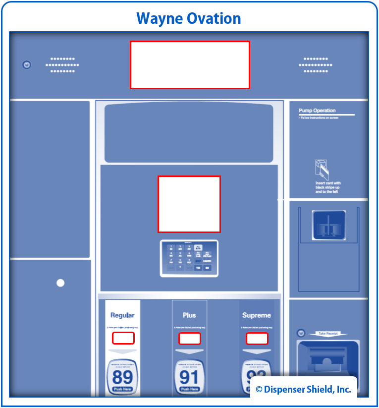 """Each Kit Includes:  (2) Sales Display Shields (2) 5.7"""" Card Reader Display Shields (8) Fuel Price Display (PPU) Shields   $26.50 / kit   Request a Sample →"""