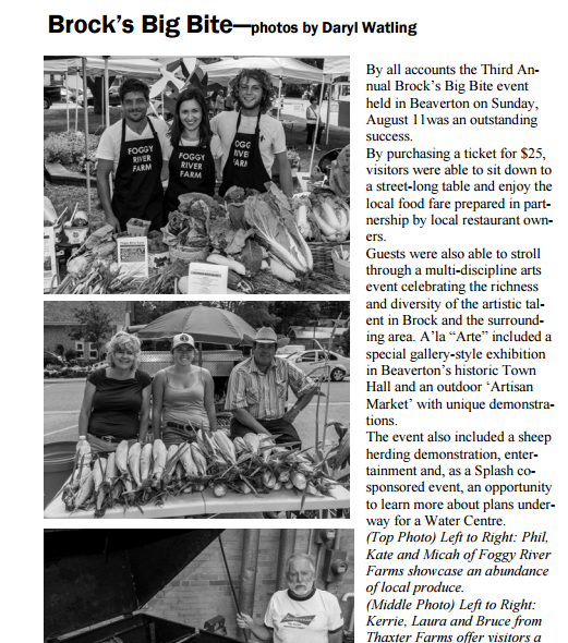 The Foggy River Farm team featured in The Pefferlaw Post, Aug 24, 2013
