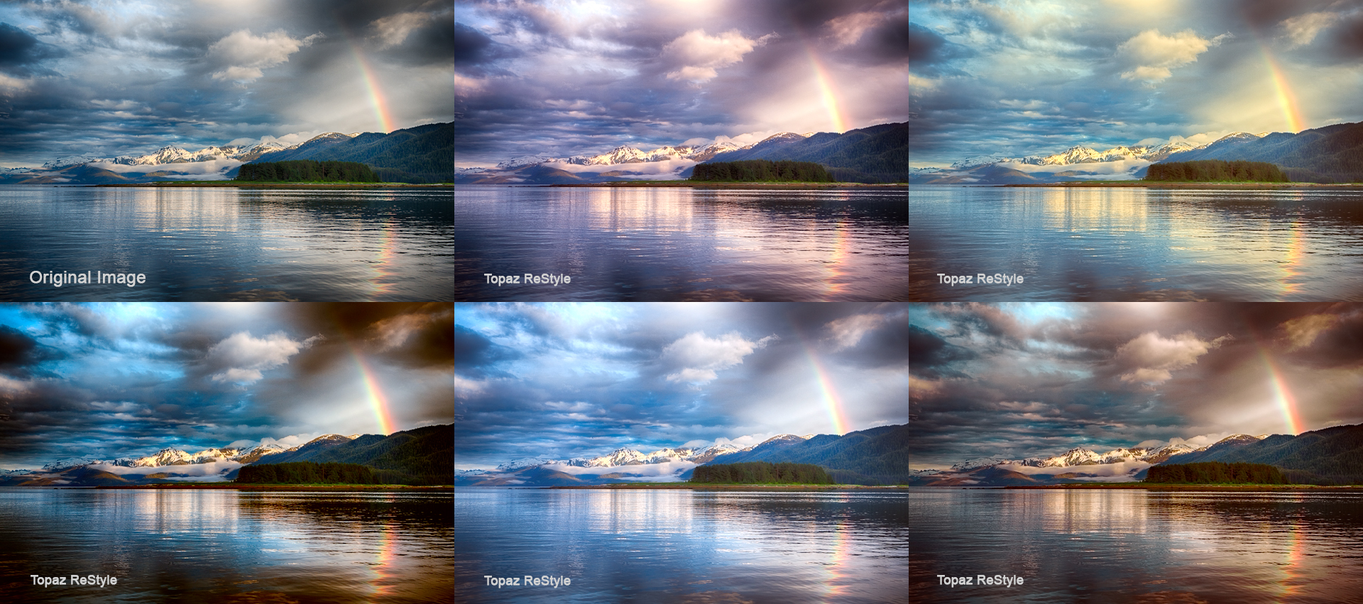 Topaz Restyle generated variants of an Alaskan sunset rainbow.