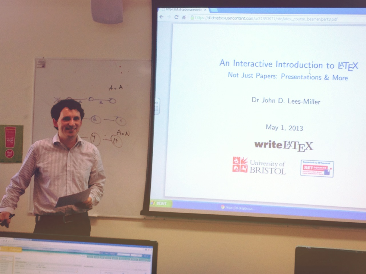 Dr John Lees-Miller presenting Interactive Online Introduction to LaTeX