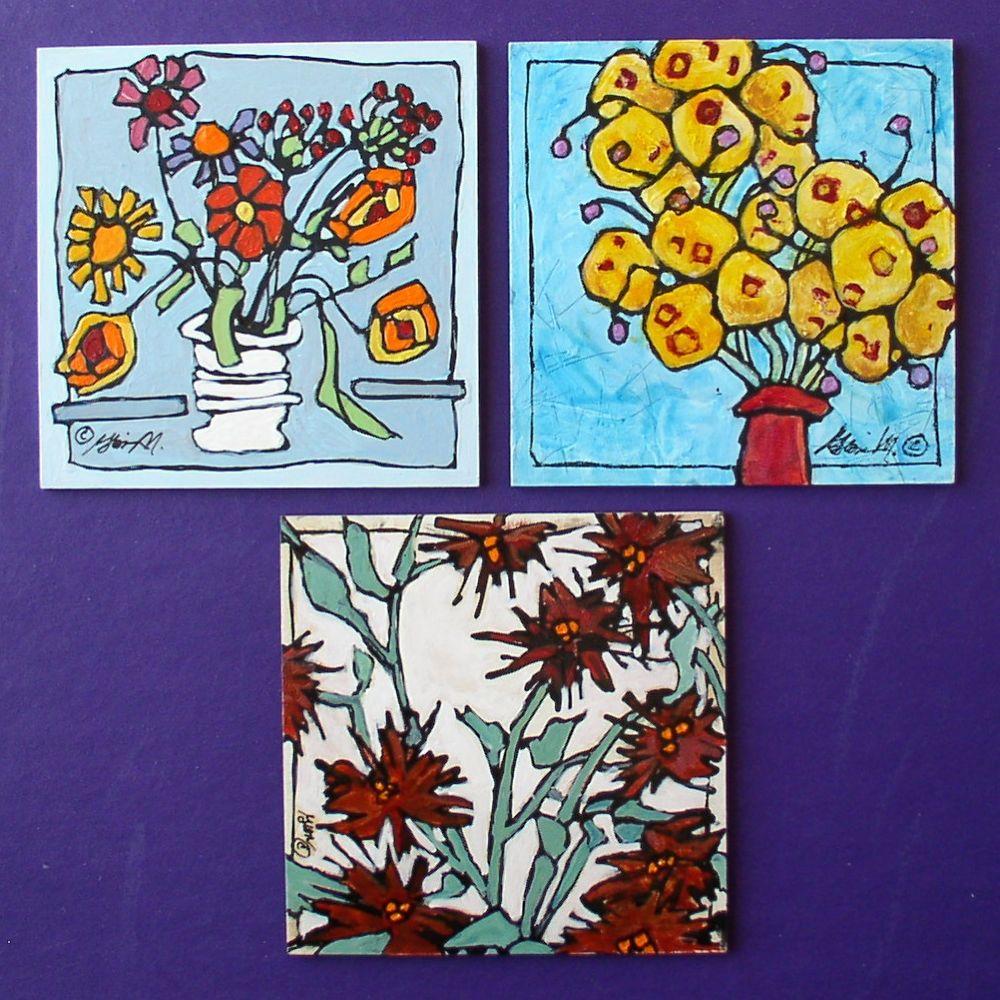 "Fall Flowers   Each  4"" x 4"""