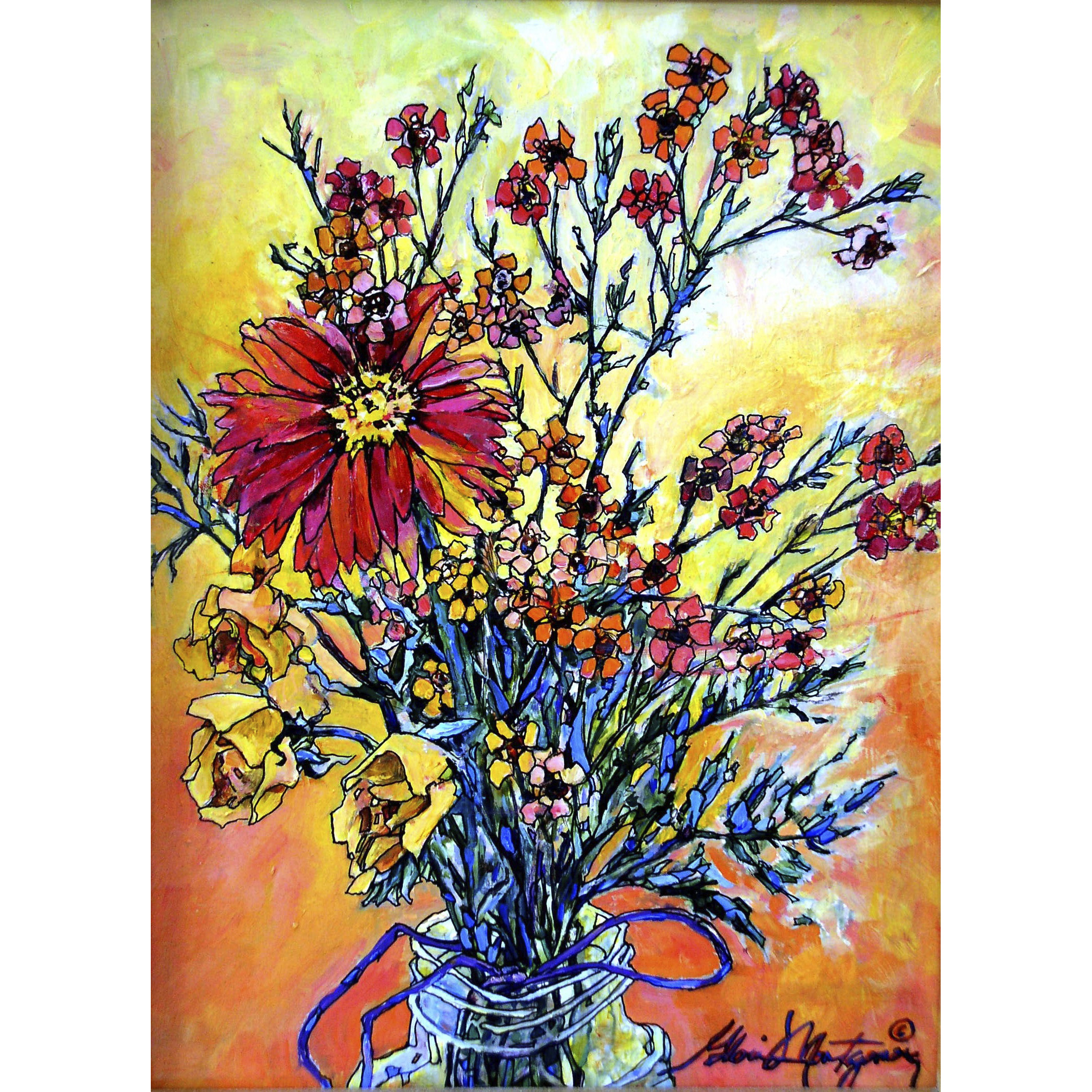 "'Bouquet in a Jar'  9"" x 12""   Oil on Panel"