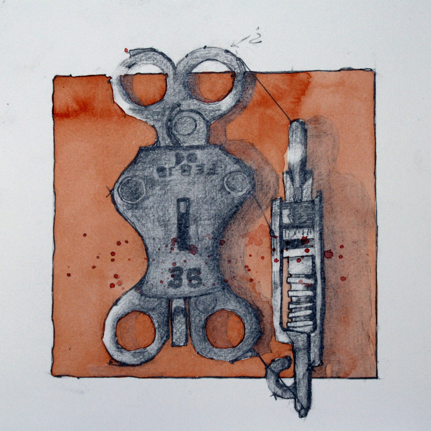"""Rusty Pully  7"""" x 7""""  Drawing"""