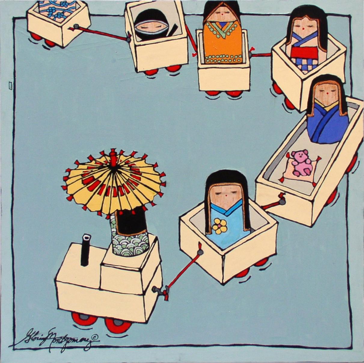 "'Kokeshi Dolls in Boxes'   16""x16"" Acrylic Painting"