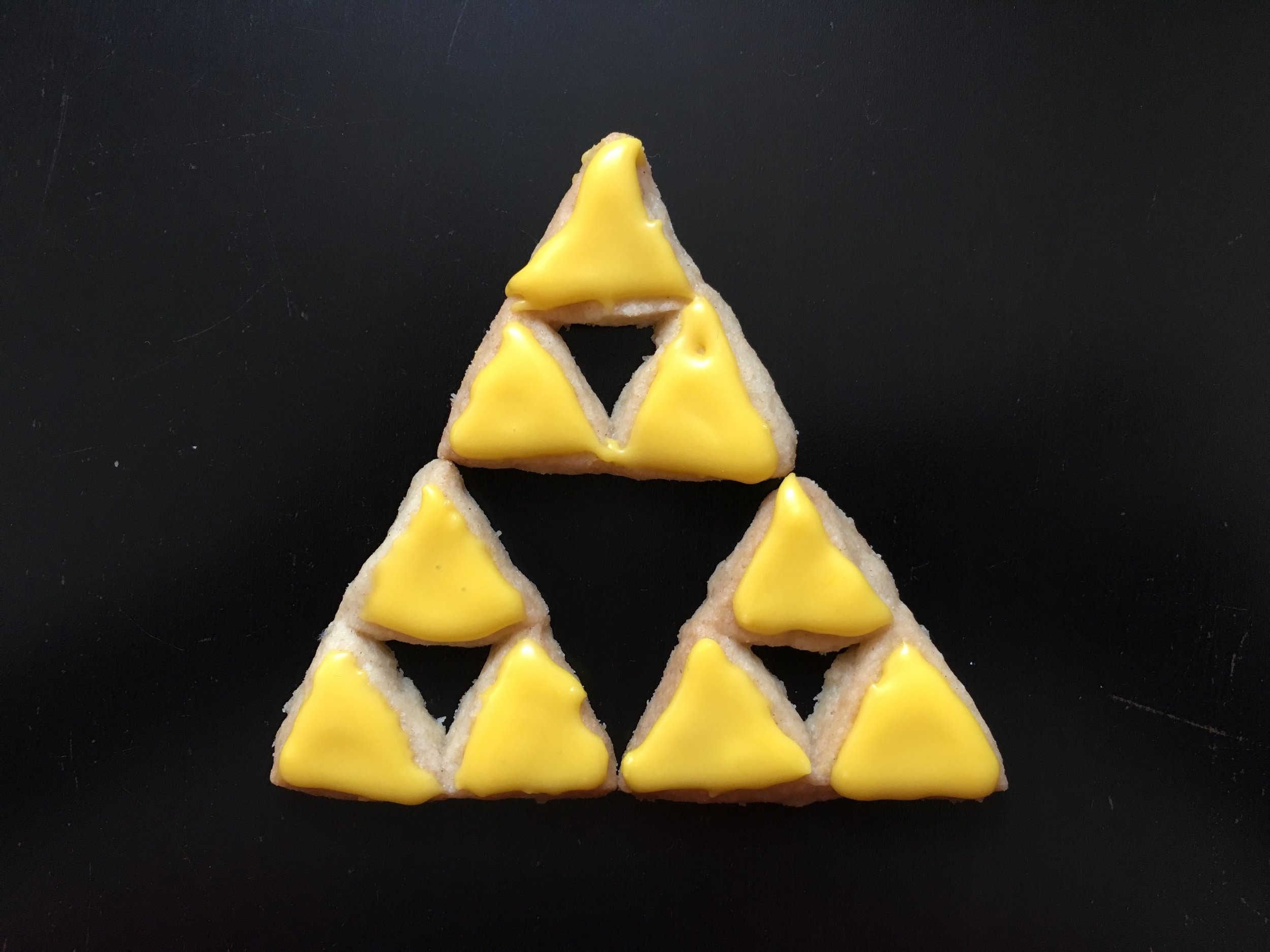 Lemon-iced Triforce biscuits