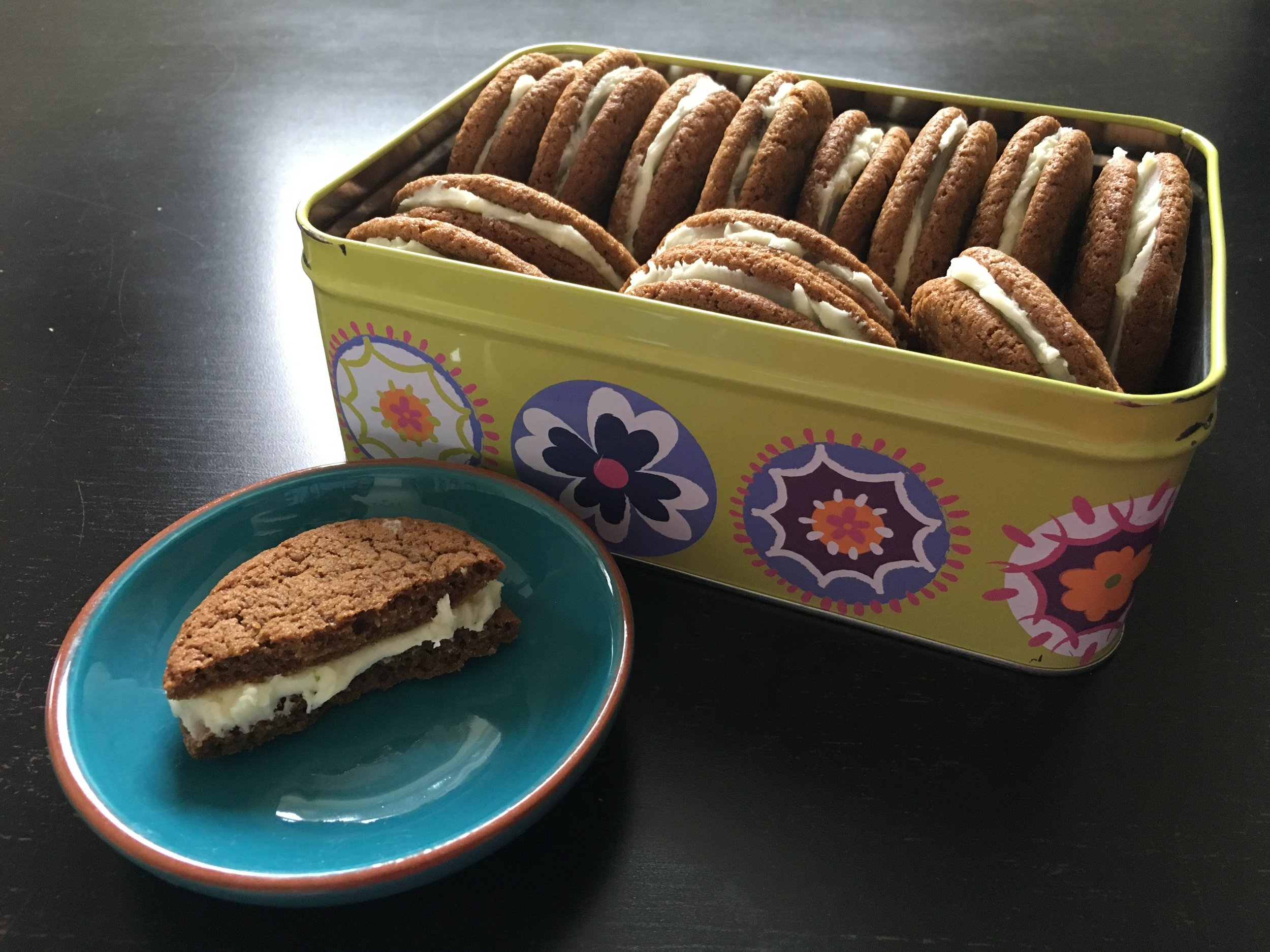 Ginger lime sandwich cookies