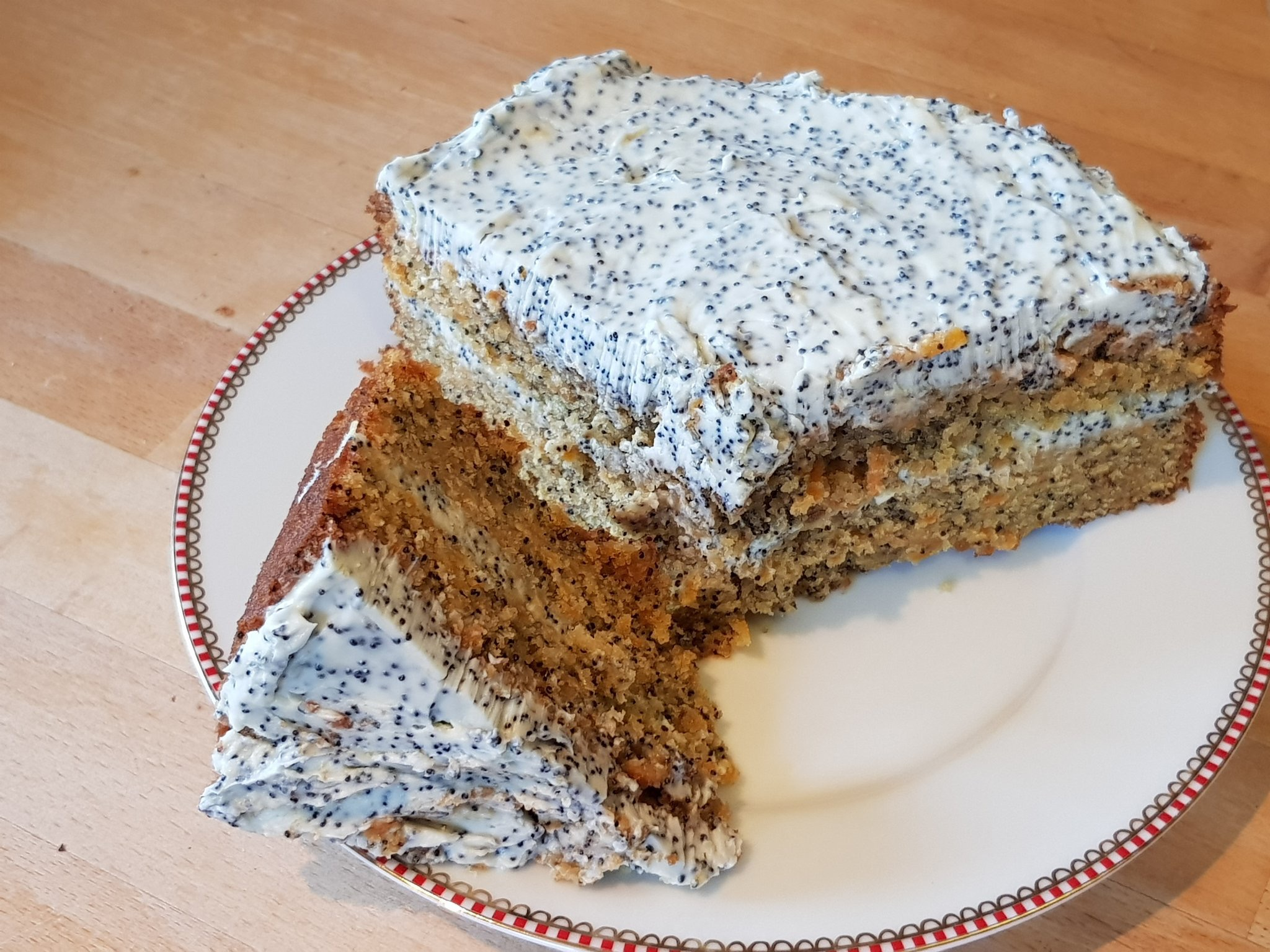 Caraway carrot cake with poppy seeds