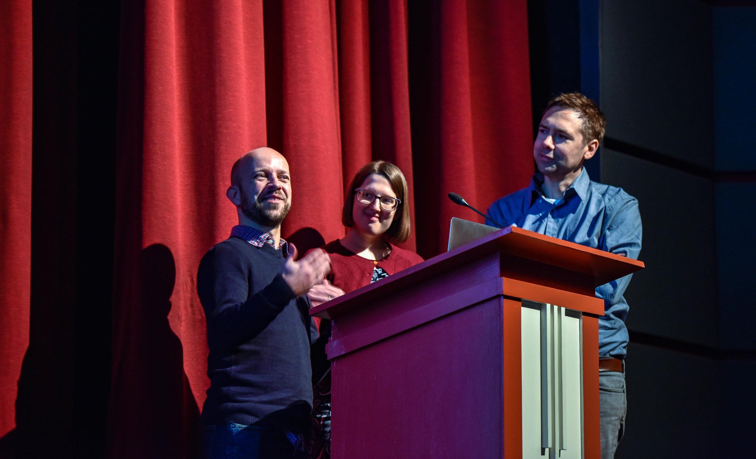 Richard England, Jordan Erica Webber, and Keith Stuart
