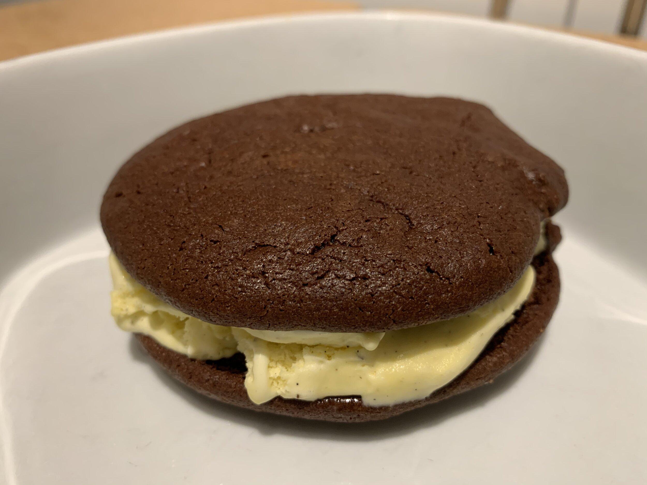 Chocolate brownie ice cream sandwich