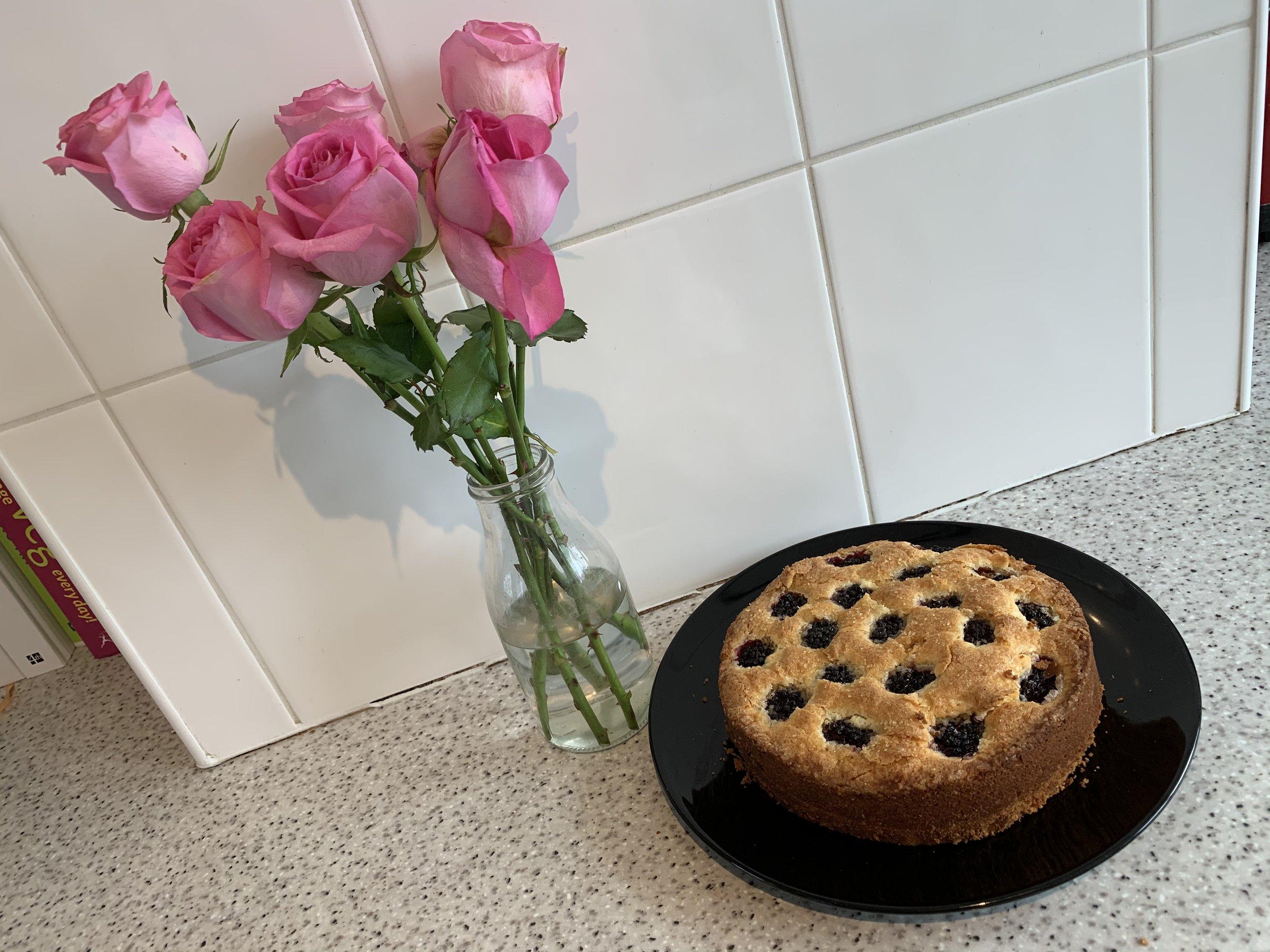 Blackberry and buttermilk sponge