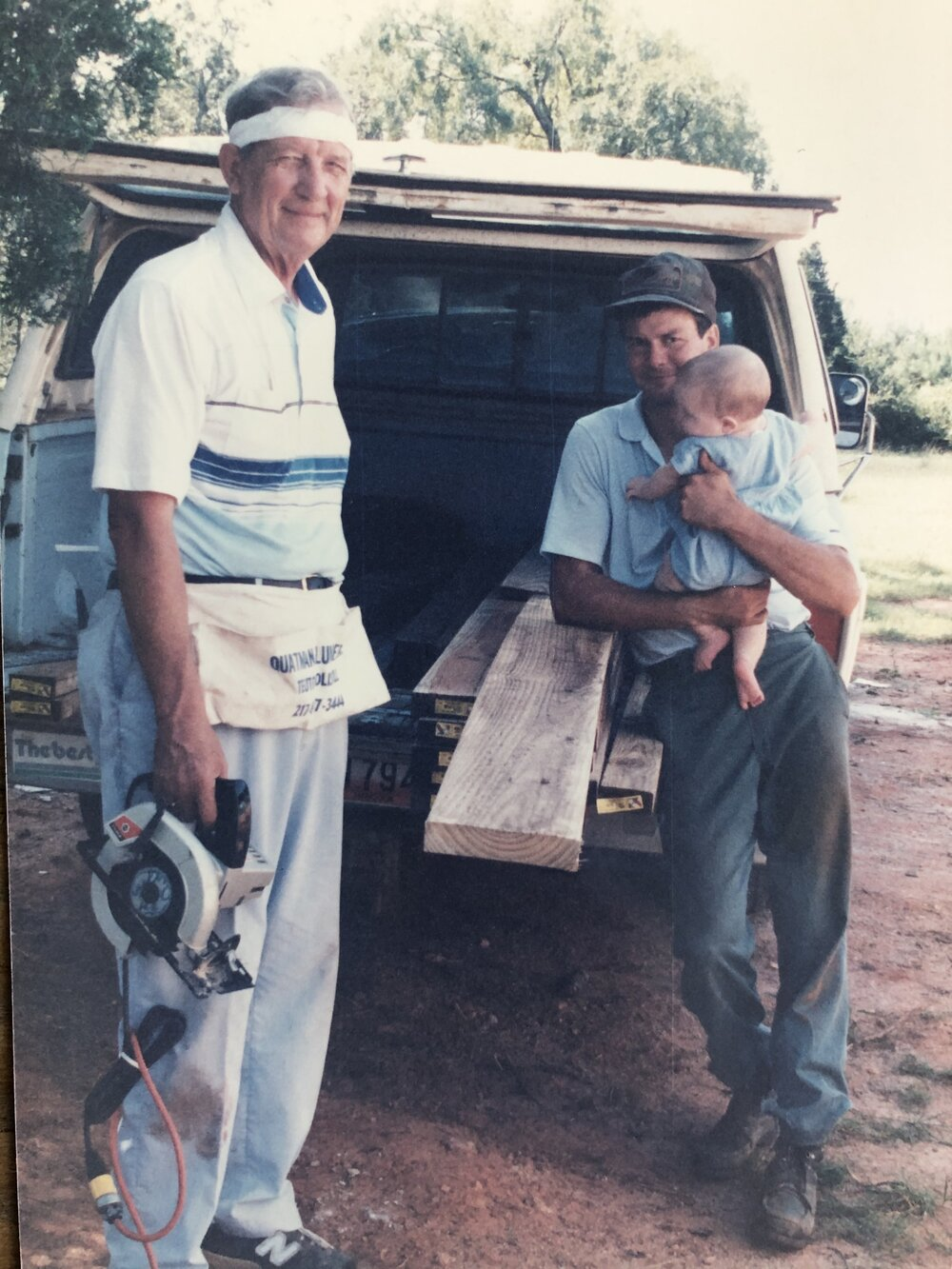 My late grandfather, John M. Schultz, my dad, and 6 month old me on the family farm in Sparta, Georgia. September 1991.