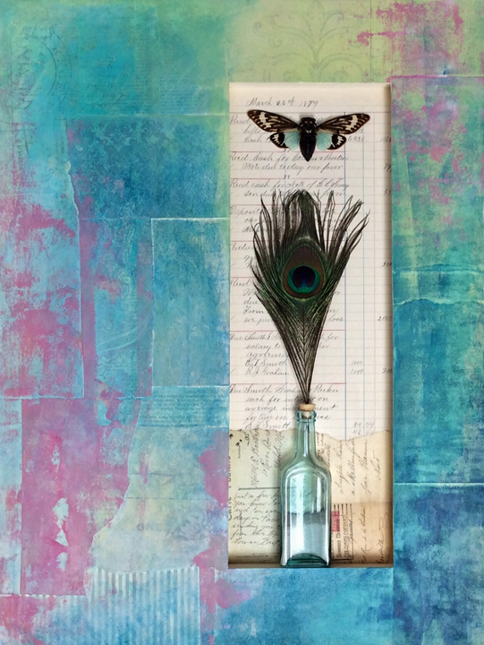 """Cicada Summer -- 18 x 24"""" mixed media on wood panel with found objects"""