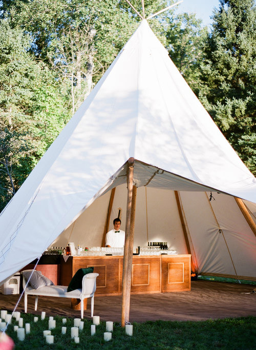 teepee tents were brought in from Montana and turned into lounges and bars -