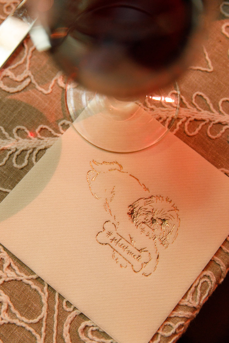 we illustrated their dog and put him on beverage napkins. -
