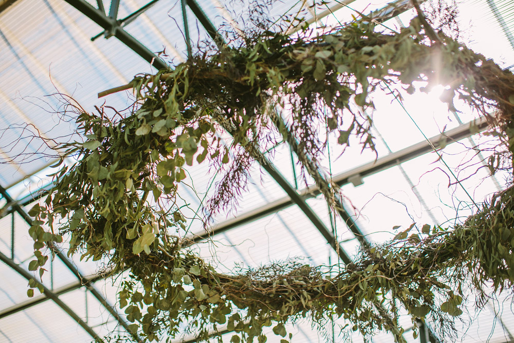 floral chandeliers were a perfect focal point over the dance floor -