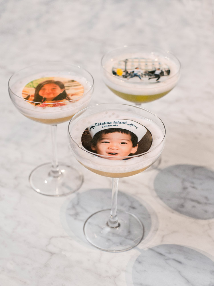 printed cocktails added a personal and surprise touch while guests shared stories of the bride and groom -