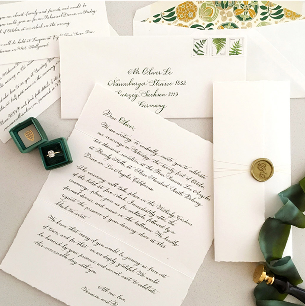 handwritten letter invites were an personal touch for their guests -