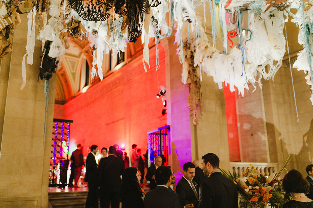 an incredible ceiling installation made a unique focal point during cocktail hour -