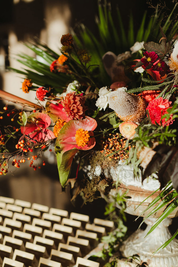 this floral backdrop welcomed guests as they were directed to their seats -