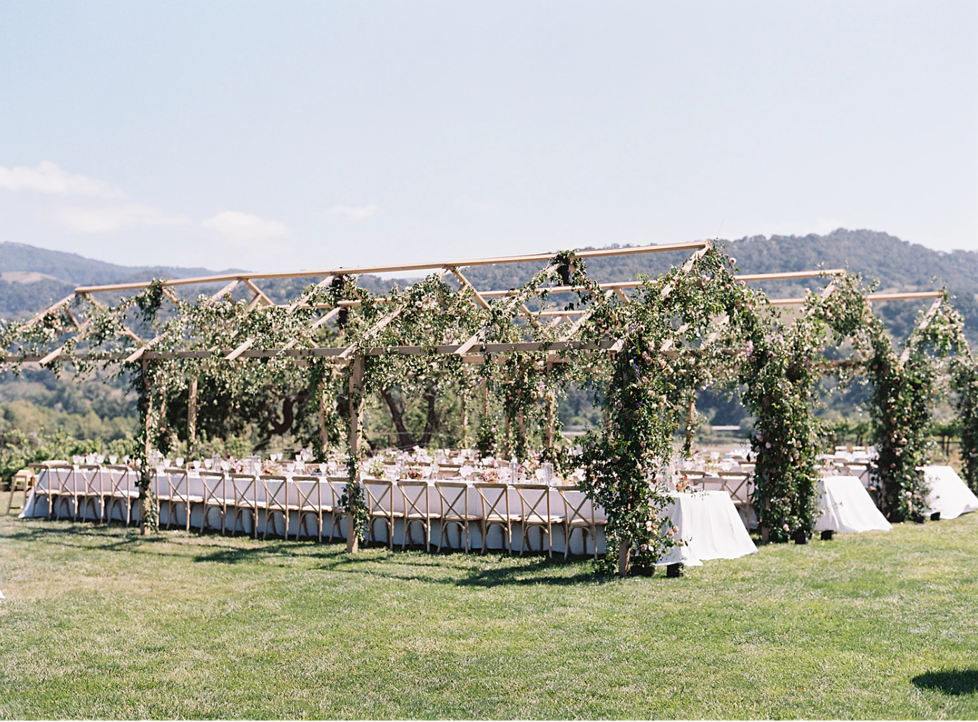 custom pergolas were fabricated and then covered in local roses -