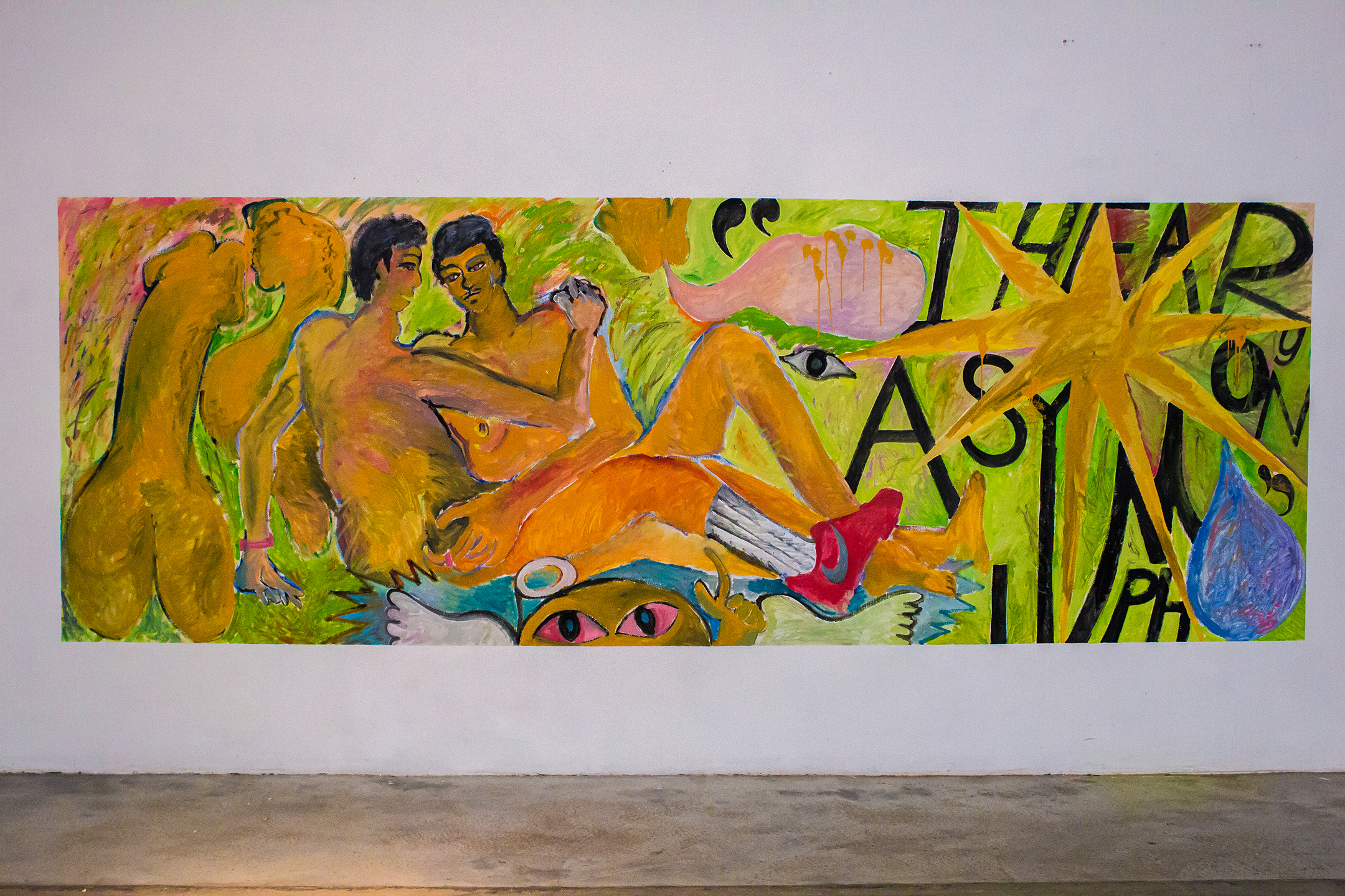 """Another dream, but more like an apparition, distorted and unclear ,  2019, acrylic and primer on wall, 5.5 ft x 18 ft  Ephemeral mural painted for """" Walking in the Sun,""""  a Filipinx/Pacific-Islander exhibition at  Human Resources LA  dealing with colorism within the East-Asian American Community.  Curated by Robben Muñoz & Jennelyn Tumalad."""