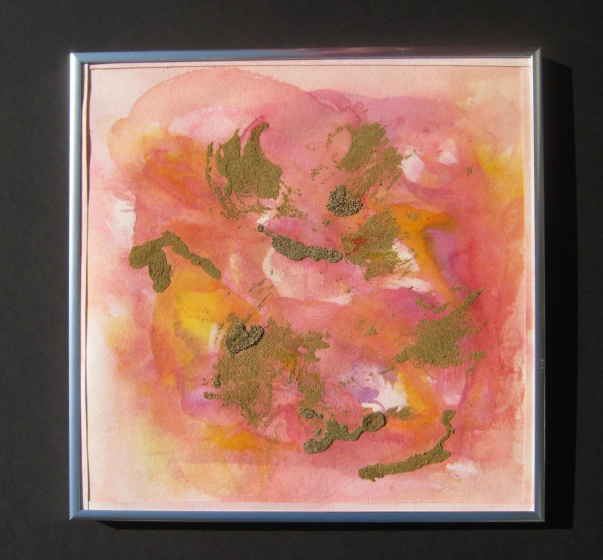 "The Pink Legend, Watercolor, and Sand, Matted with Part of Picture -Cut Edge, 12"" X 12"" X 1.9"", 2012"