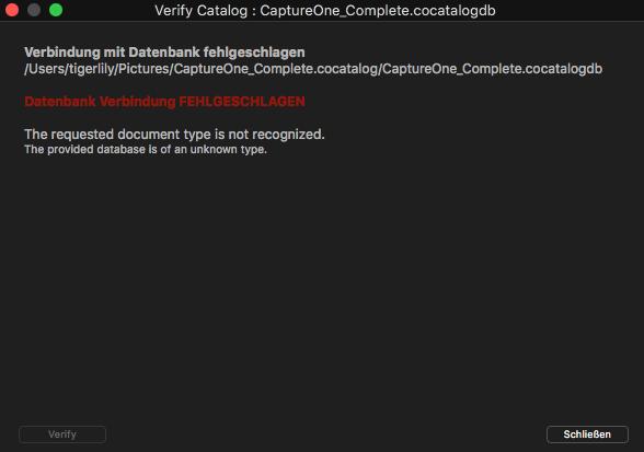 Error Message of Capture One