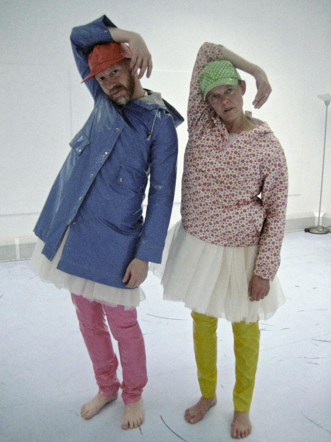 Andrew Barker and Kate Brown demonstrating 'swan' costumes.