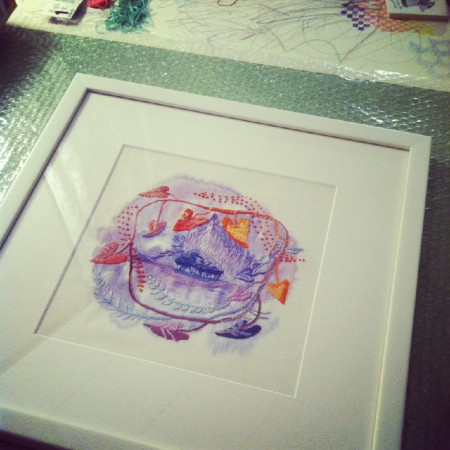"""Ombre, 2012, embroidery and acrylic on linen, 17.5"""" square, framed."""