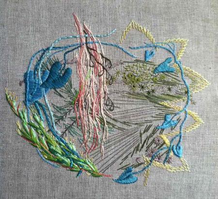 """Tying Knots, embroidery on linen, 11 x 11"""" - work in progress"""