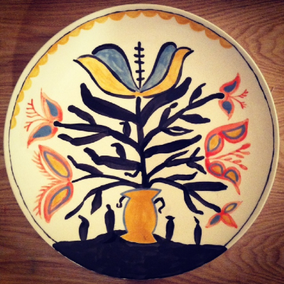 Plate Two, 2013, hand painted glaze on pottery