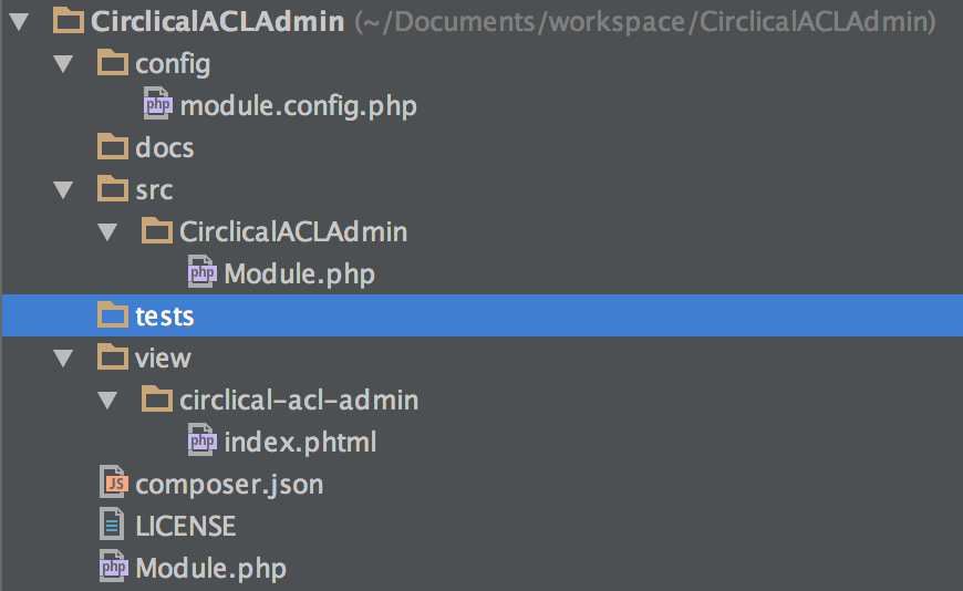 Project layout (in PhpStorm w/Darcula theme)