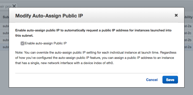 Automatically assigning public IPs within subnets