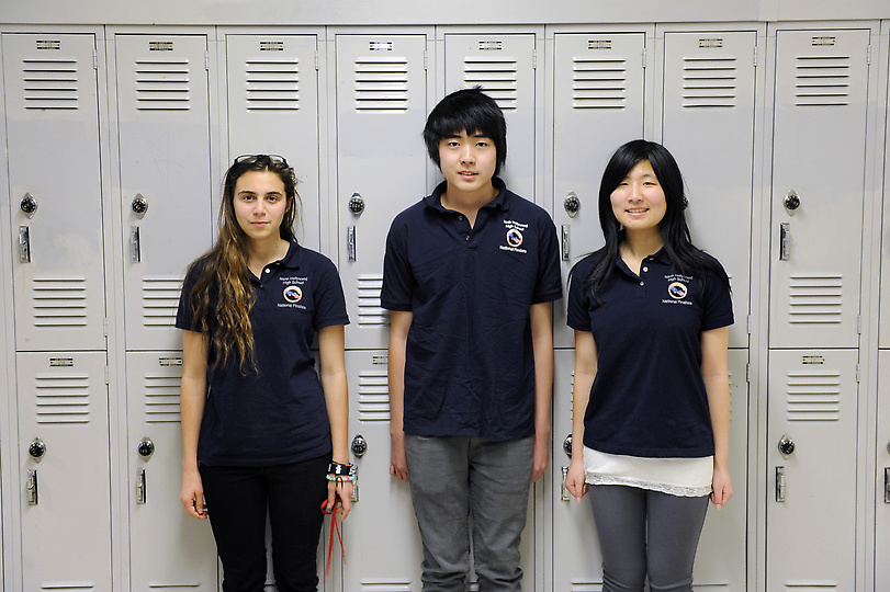 "Dana Sirota, from left, Jonathan Shuai and Jenny Lu, are members of the North Hollywood High School Cyberpatriots team called ""Team Factorial."" (Michael Owen Baker/Staff Photographer)"