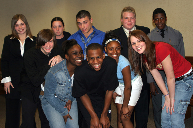 Jovon Dawson, front row left, with her mock trial team.