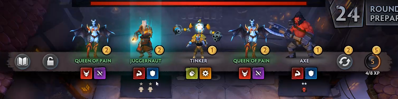 I really love that Underlords has these big indicators for things like a hero level up and synergy levels