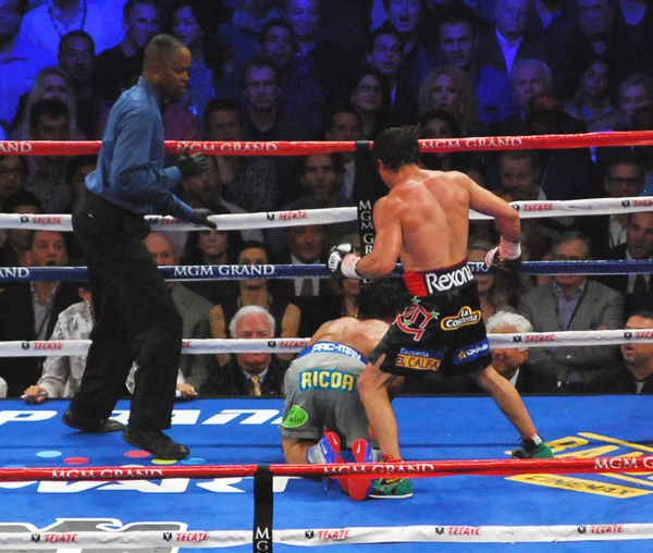 Juan Manuel Marquez knocks out Manny Pacquiao in the sixth round of their fourth match at the MGM Grand Arena in Las Vegas, Nevada, Dec. 8, 2012. (©2012 AJPress Photos Robert Macabagdal)