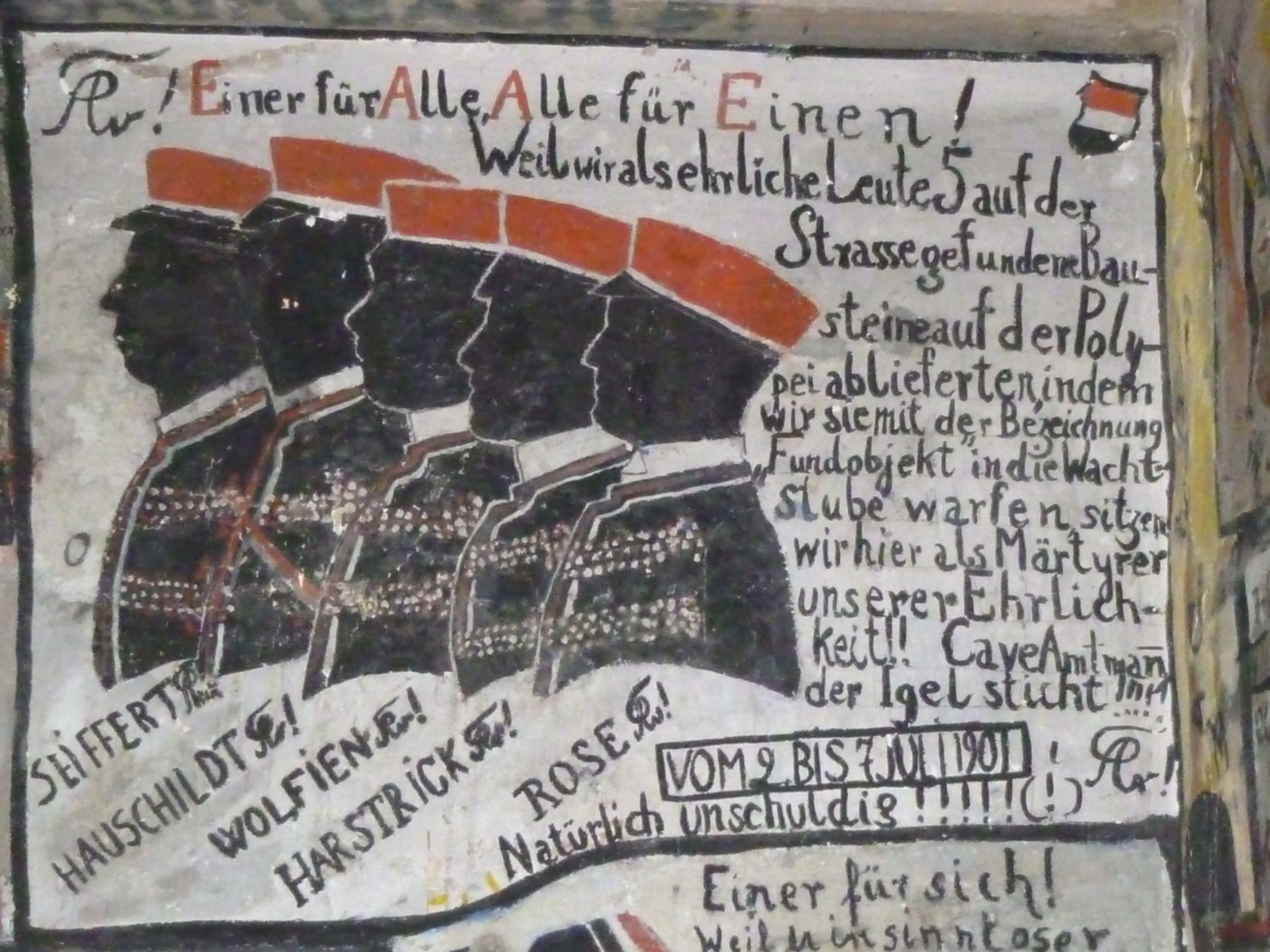 """""""All for one, One for all"""" (in German) is the motto of Rizal's fraternity dueling cohort, The Swabians."""