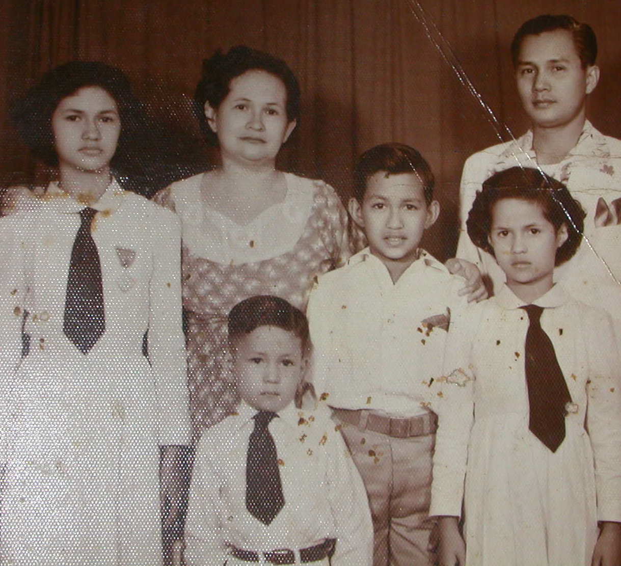 An old family portrait of the Diosos from 1953, from left: Maria, Rosario, Leo, Tita, Leocadio Sr. Front: Jose (Joe)  (Courtesy of Dioso family)