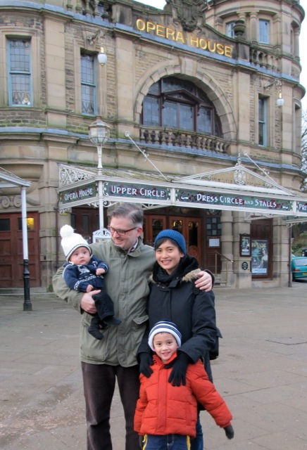 Author Emmily Magtalas Rhodes and her family (L-R: Edward, husband Daniel, Emmily and Arthur) at Buxton Opera House in Derbyshire, England