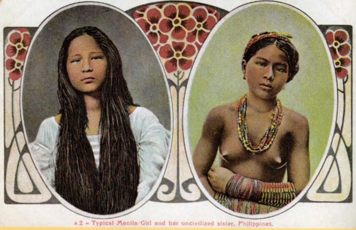 """Postcard with art noveau design captioned: """"Typical Manila Girl and her Uncivilized Sister"""""""