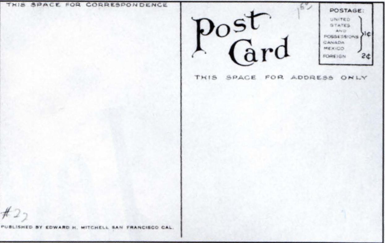 Back side of postcards with art noveau fonts