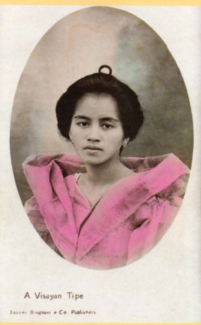 """A hand-colored """"real photo"""" postcard of a Visayan beauty, 1907"""