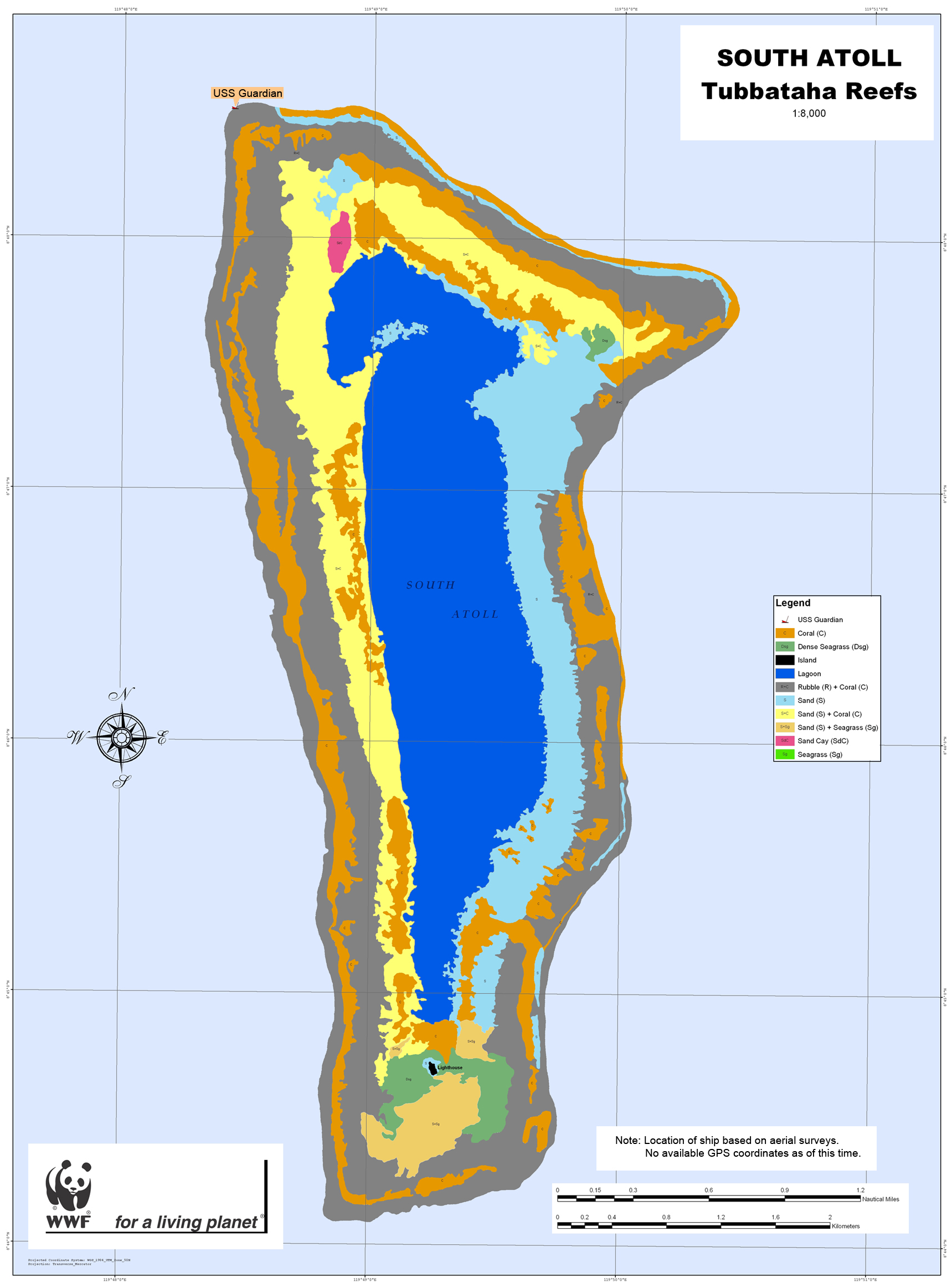 Map of actual grounding site of USS Guardian at Tubbataha Reef (Photo courtesy of WWF-Philippines)