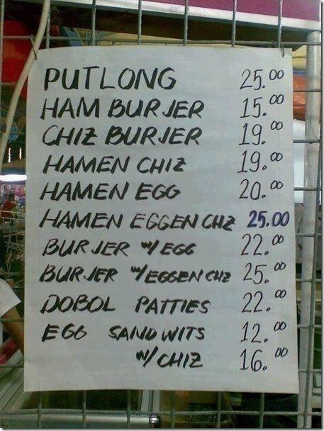Putlong, Hamburjer, Chiz Burjer, Hamen Chiz, Hamen Egg...