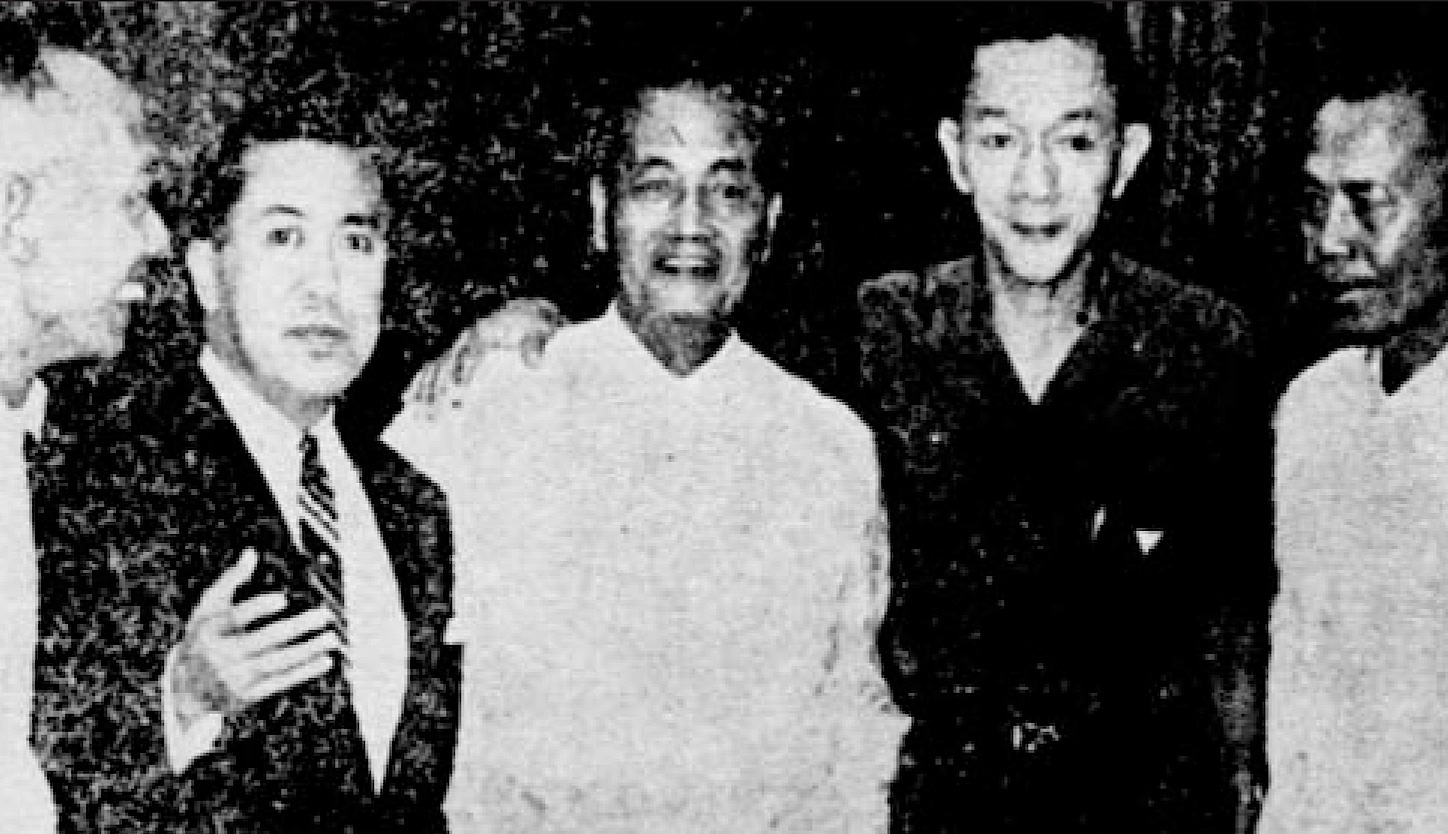 In 1964, twenty years after their war exploits, members of the Planet Party held a reunion in Manila. Left to right: Patricio Jorge, Villamor, Emilio Quinto, Delfin YuHuico and Dominador Malic. Rodolfo Ignacio was in the U.S.